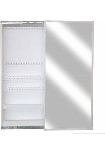 Porta Jóias De Parede 1 Porta De Correr Com Espelho 100% Mdf M520 Branco - Formalivre