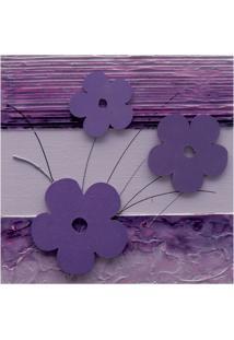 Quadro Artesanal Com Aplique Flores 30X30 Lilás Uniart