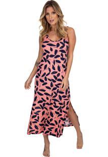 Camisola Longuete Regata Com Fenda Coral Print - Tricae