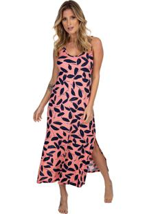 Camisola Longuete Regata Com Fenda Coral Print