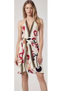 Vestido De Seda Com Decote V E Amarração Estampado Est Lenço Miró Pérola Duplo