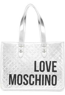 Love Moschino Bolsa Tote Matelassê Com Logo - Prateado