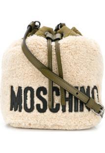 Moschino Logo Print Shoulder Bag - Neutro
