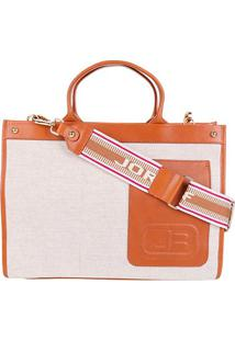 Bolsa Couro Jorge Bischoff Tote Shopper Com Textura Feminina - Feminino-Bege