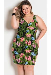 Vestido De Alças Floral Plus Size