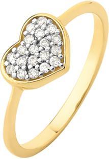 Anel De Ouro 18K Coração Com Pedras Em Topázio Branco.