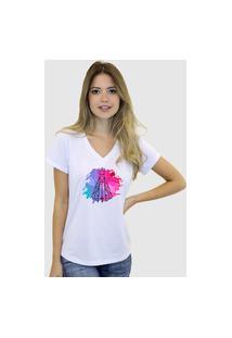 Camiseta Suffix Blusa Branca Basica Gola V Estampa Nossa Senhora Aparecida Com Fundo Tie Dye