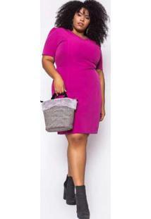 Vestido Almaria Plus Size Enois Liso Pink Rosa
