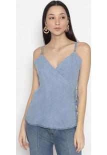 Blusa Jeans Com Transpasse- Azulenna