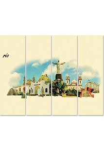 Placa Painel Decorativa Em Mdf Foto Rio De Janeiro Kit 4 Placas