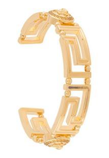 Versace Bracelete Greca Com Recortes - Dourado