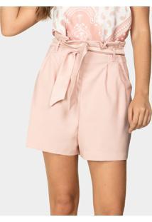 Shorts Clochard Tecido Com Cinto Rosa Silice - Lez A Lez