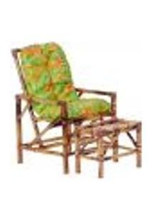 Conjunto Mesa E Cadeira De Bambu Cancun Para Área Edicula Jardim G16
