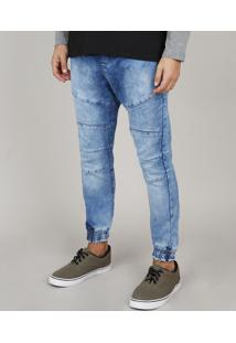 Calça Jeans Masculina Jogger Com Recortes Azul Médio
