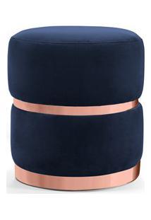 Puff Decorativo Com Cinto E Aro Rosê Round B-287 Veludo Marinho - Domi