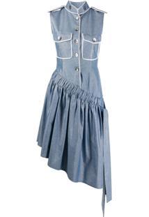 Atu Body Couture Chemise Assimétrica Com Efeito De Brilho - Azul