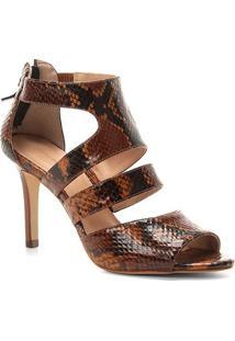 Sandália Couro Shoestock Animal Print Snake Feminina - Feminino-Caramelo
