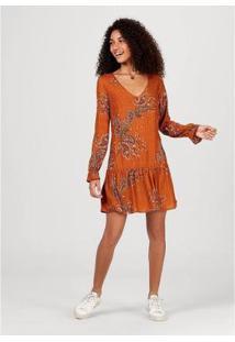 Vestido Em Tecido Texturizado De Viscose Estampado - Ha4E1Aen5 Feminino - Feminino