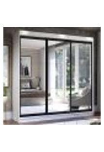 Guarda-Roupa Casal Madesa Istambul 3 Portas De Correr De Espelho 3 Gavetas - Branco/Preto
