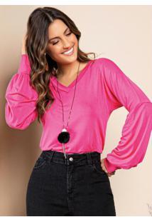 Blusa Pink Decote V Com Mangas Bufantes