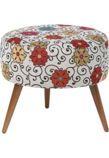 Puff Angel L02 Redondo Tecido Linho Floral Pã©S Palito - Lyam Decor - Multicolorido - Dafiti