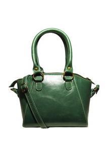 Bolsa Pequena De Couro Argolas - Ref. 453 Verde Musgo