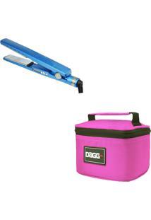 Kit Necessaire Dagg Rosa E Chapinha Prancha Nano Titanium Azul