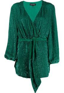 Retrofete Vestido Envelope Com Aplicação - Verde