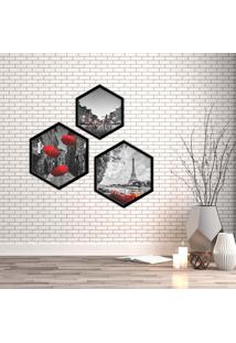 Kit 3 Quadros Com Moldura Hexagonal Black And Red