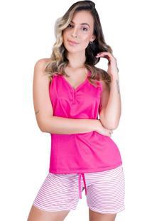 Pijama Mvb Modas Curto Adulto Blusa E Short Com Laço Rosa