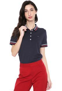 Camisa Polo Tommy Hilfiger Reta Listras Azul-Marinho