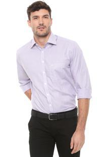 Camisa Dudalina Reta Quadriculada Branca/Roxa
