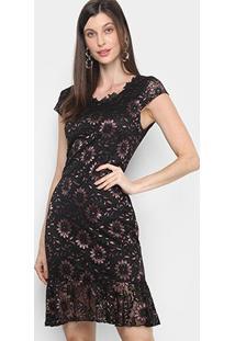 Vestido Lily Fashion Curta Peplum Detalhe Babado Renda - Feminino-Preto+Rosa
