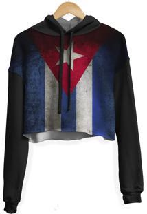 Blusa Cropped Moletom Feminina Overfame Cuba - Azul/Branco/Preto/Vermelho - Feminino - Poliã©Ster - Dafiti