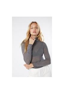 Blusa Em Modal Cashmere Ultralight Gola Alta - Cinza G