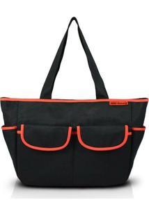 Bolsa De Lisa - Jacki Design - Feminino-Preto+Laranja