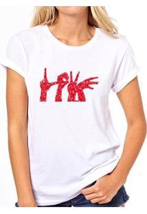 Camiseta Coolest Love Mãos Feminina - Feminino-Branco