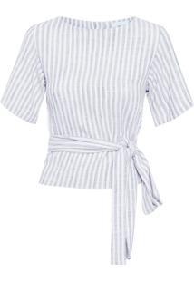 Blusa Feminina Amarração Listrada - Off White E Azul