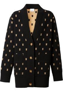 Burberry Cardigan Oversized Monogramado De Cashmere E Lã - Black