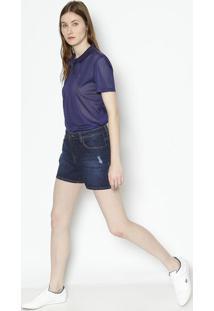 3971e42070a98 ... Short Jeans Com Puído - Azul Escurolacoste