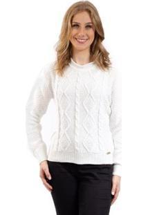 Blusa De Tricô Com Tramas Sumaré Feminina - Feminino-Branco
