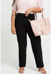 Calça Feminina Reta Botões Plus Size