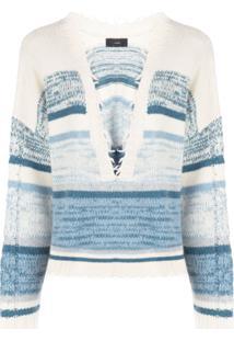 Alanui Suéter De Tricô Com Barra Desfiada - Azul