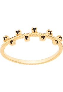 Anel Skinny Ring Zircônias Intercaladas Rommanel - Feminino-Preto