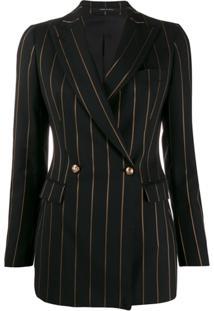 Tagliatore Longline Pinstripe Suit Jacket - Preto