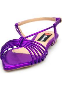 Sandalia Love Shoes Salomé Rasteira Bico Folha Tirinhas Metalizadas Roxo
