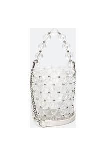 Bolsa Modelo Bucket Em Acrílico Transparente | Satinato | Branco | U
