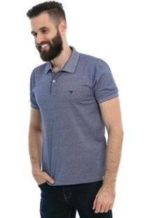 Camisa Polo D'Affari Filete Masculina - Masculino-Azul