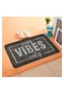 Capacho Carpet Good Vibes Only Cinza Único