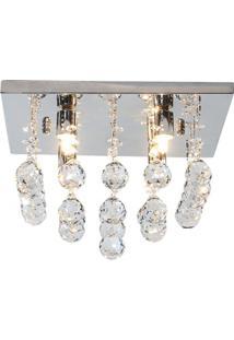 Plafon Quadrado Em Vidro Cascata De Cristal Para 4 Lâmpadas